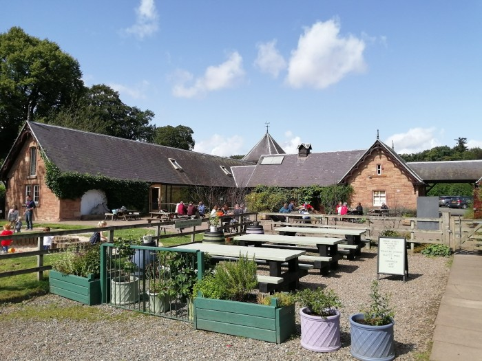 Harestanes Scottish Borders Farm Courtyard blue skies