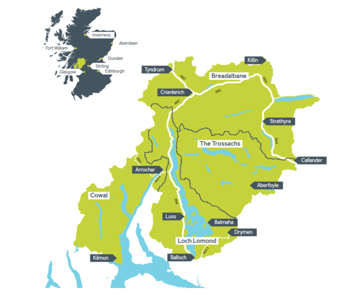 Map Scotland Loch Lomond