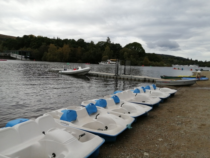 pedal boats open body of water grey skies
