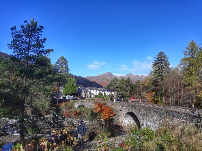 blue skies historic bridge Killin
