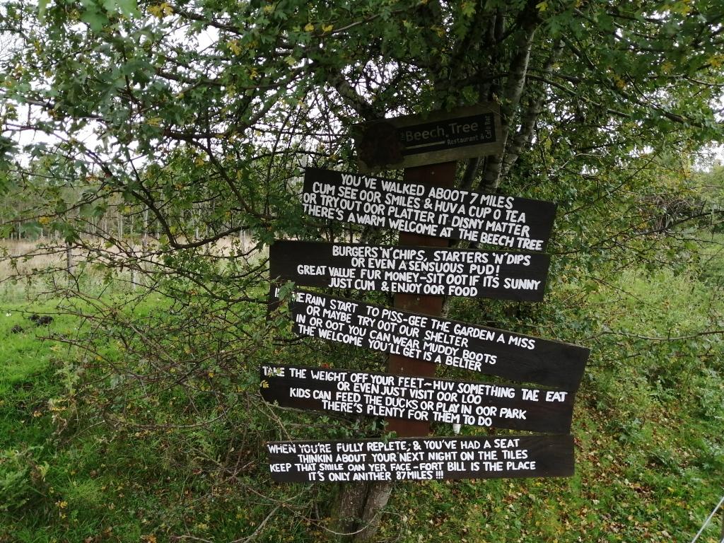 west highland way, signs, cafe, restaurant, beech tree inn