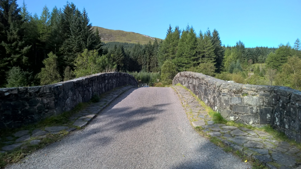 west highland way, scotland, stone bridge, blue skies, bridge of orchy, river orchy, trees, forest
