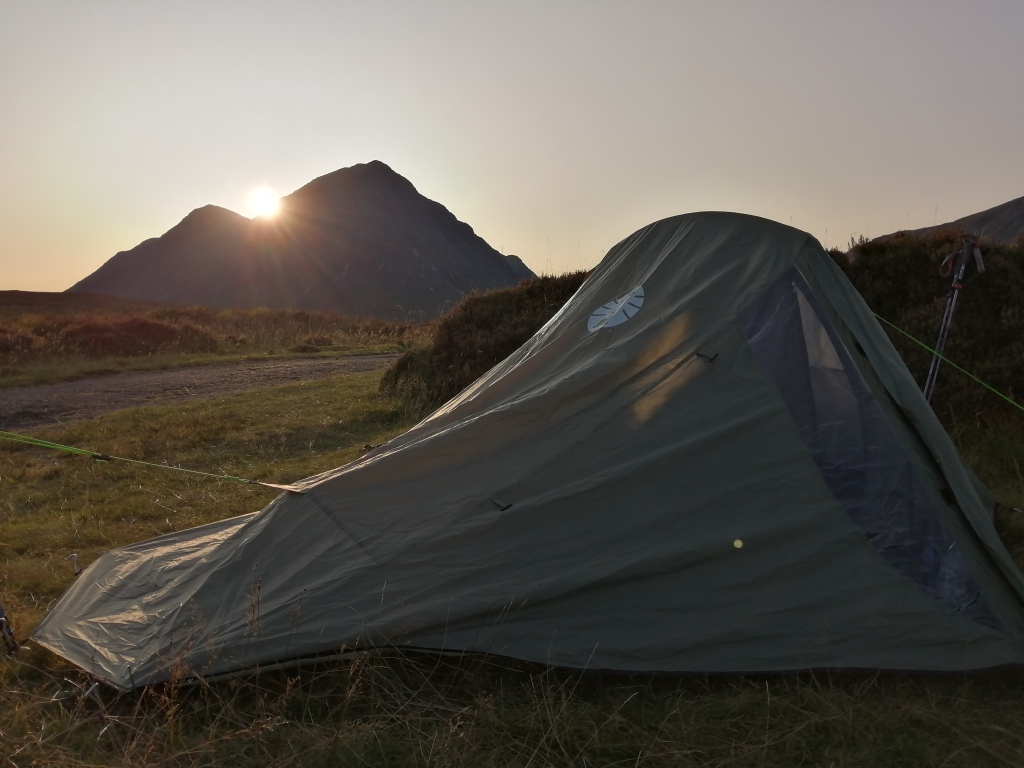 west highland way, scotland, glen coe, buachaille etive mor, mountain, sunset, pathway, tent, camping