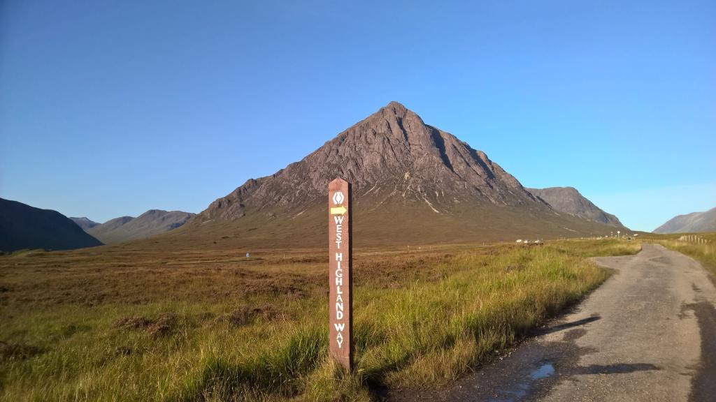 west highland way, scotland, sign, blue skies, mountains, hills