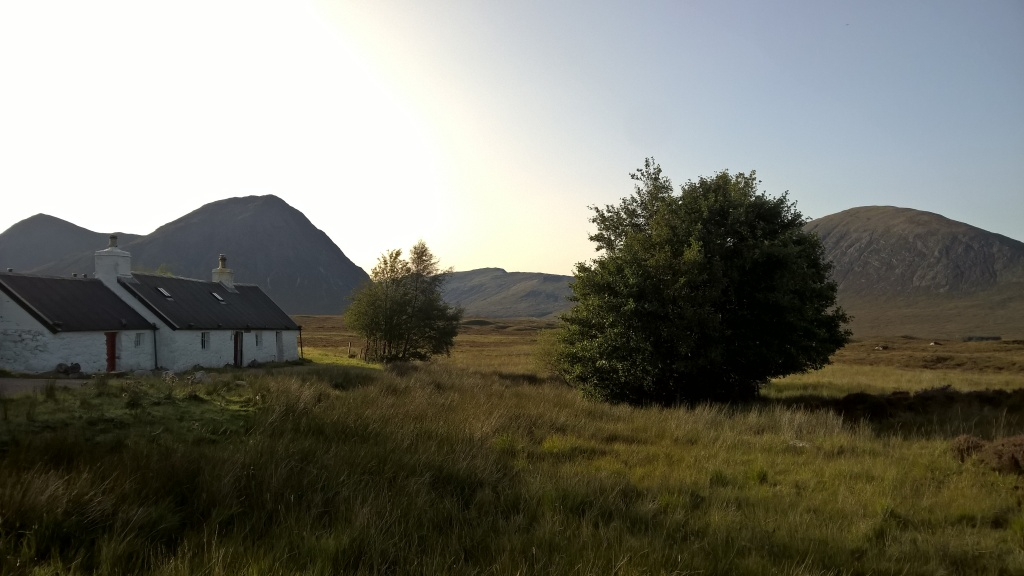 west highland way, scotland, glen coe, buachaille etive mor, mountains, hills, cottage, old cottage