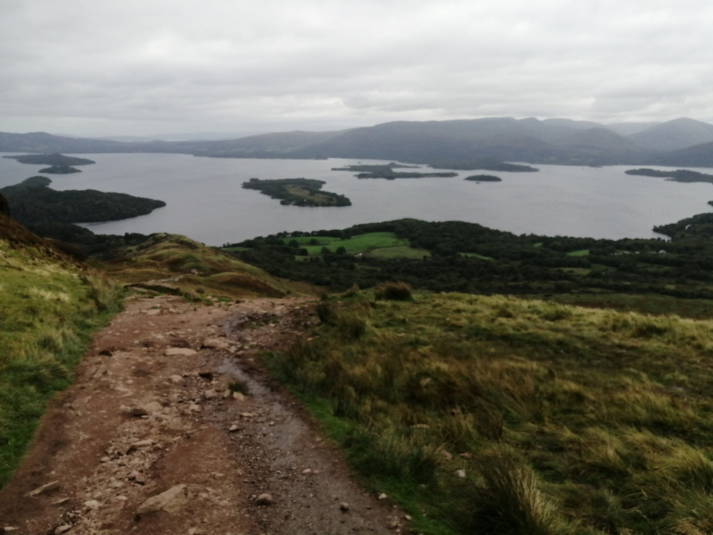 west highland way, scotland, loch lomond, conic hill, hills, mountains, countryside, path