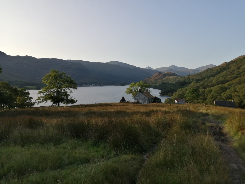 west highland way, scotland, mountains, forest, remote houses, loch lomond, sunset colours