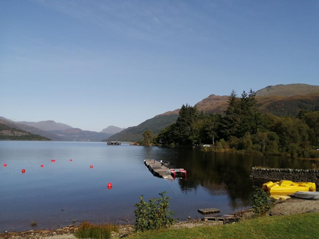 west highland way, scotland, loch lomond, ben lomond, blue skies, mountains, hills, open water, reflections