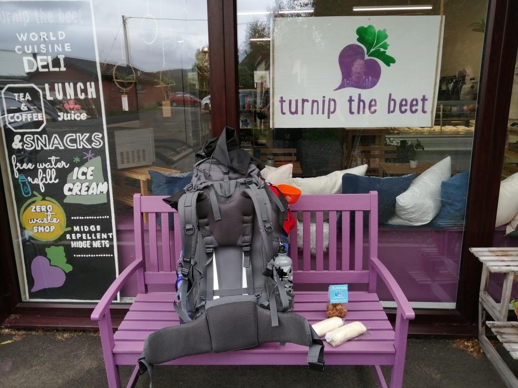 west highland way, scotland, turnip the beet, cafe, shop, rucksack, shop front