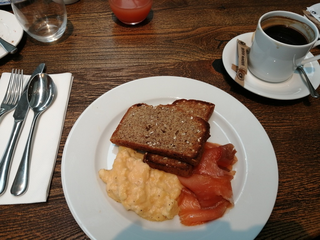 sour dough, scottish smoked salmon, scrambled eggs, cup of coffee, breakfast, machrie hotel, islay, scotland
