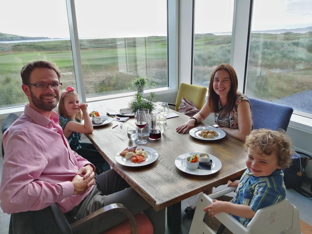 restaurant, smiling family, food, children, view golf course, wine, machrie hotel, islay, scotland