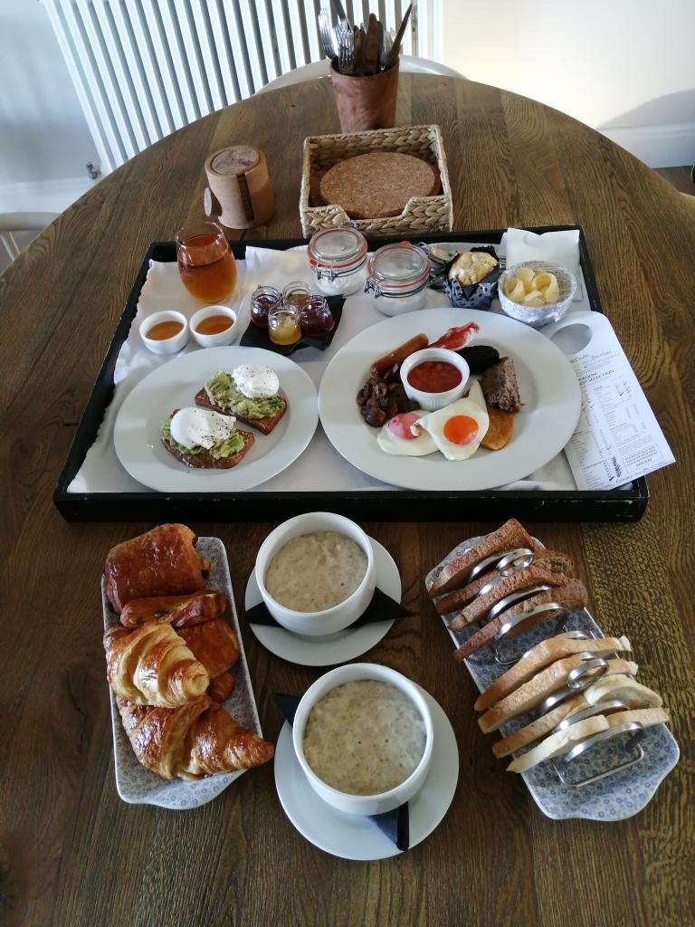 breakfast, poached eggs, full scottish breakfast, juice, honey, toast, porridge, pastries, room service, machrie hotel, islay, scotland