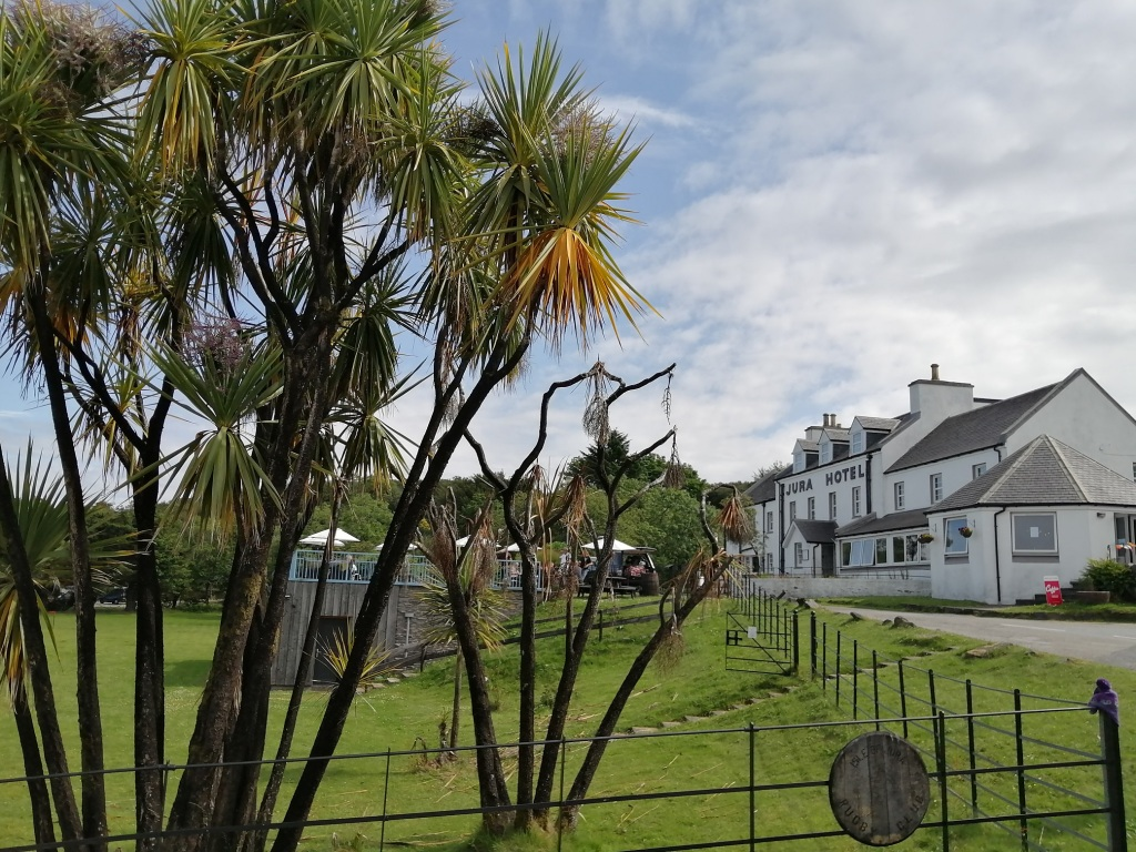 jura hotel, white buliding, blue skies, palm trees, jura, scotland