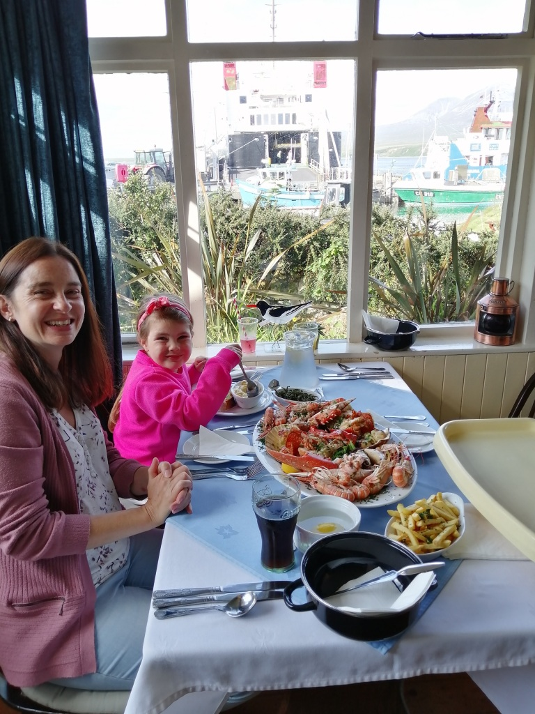 smiling lady, smiling girl, seafood platter, seafood, ferry, port askaig hotel,  islay, scotland