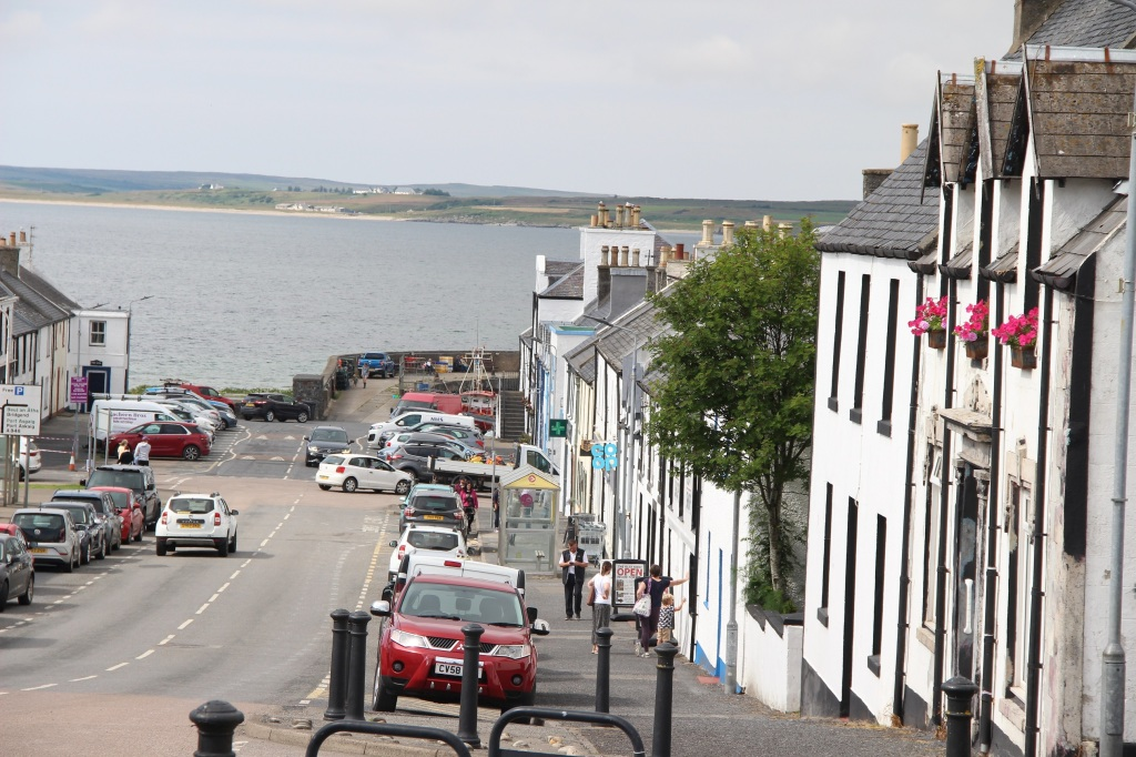 seaside village, bowmore, white houses, village high street, open water, islay, scotland