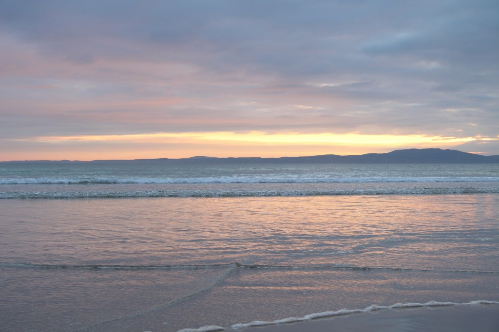 sunset, open water, colourful skies, colourful clouds, reflections, laggan bay Islay, scotland
