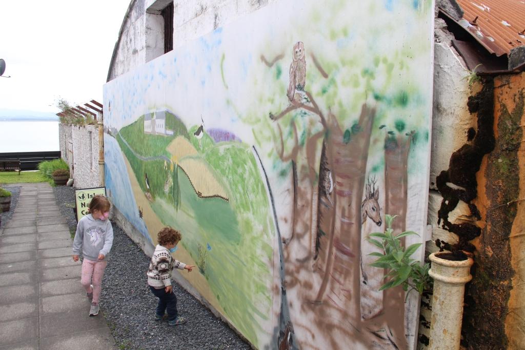artwork, wildlife, walkway, children playing, owl, deer, islay,scotland