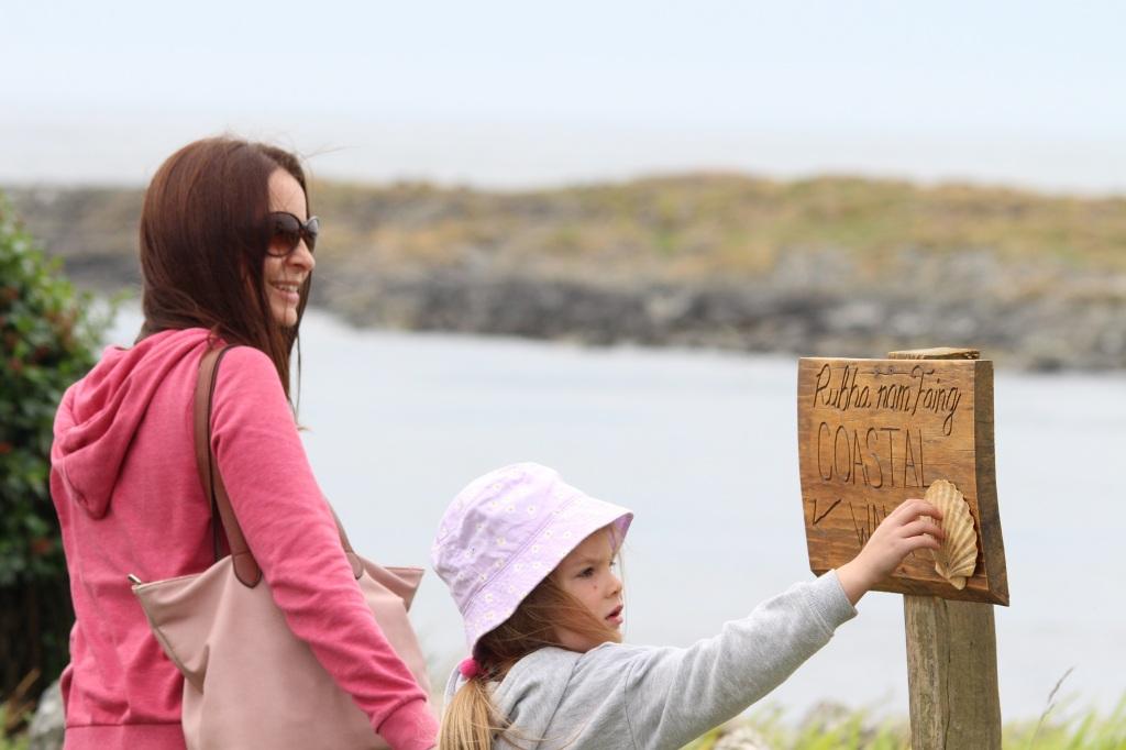 sign, coastal path, child, lady, islay, scotland