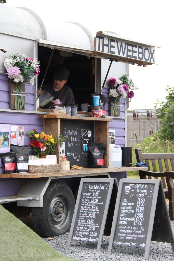 the wee box, horse box, cafe, flowers, snacks, coffees, catering, port ellen, islay, scotland