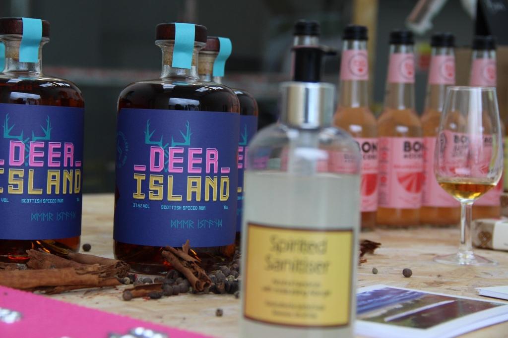 Deer Island Rum, rum, bottles, glasses, jura, scotland