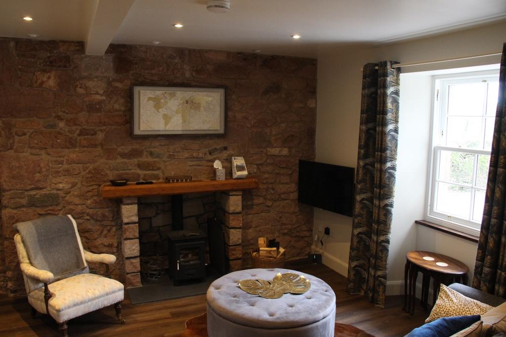 livingroom, open fireplace, carfrae farm cottage,